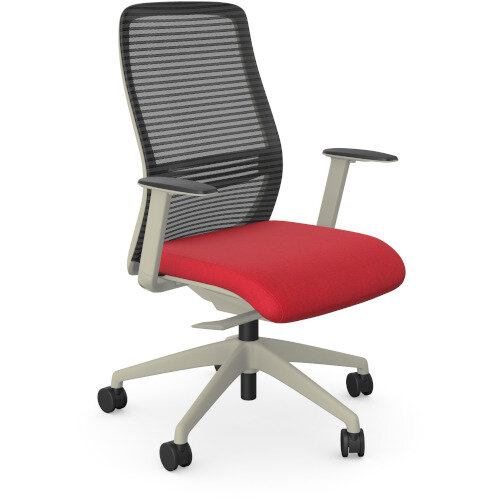 NV Posture Office Chair with Contoured Mesh Back and Adjustable Lumbar Support White Frame Red Seat