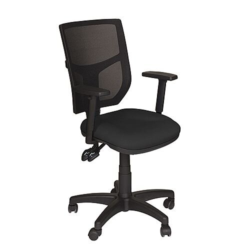 Mesh Back Office Chair With Adjule Arms Black Profiled Seat Oa Series