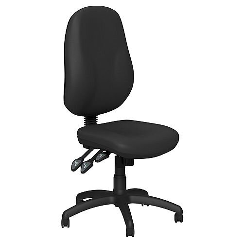 O.B Series Office Chair Leather Look Seat Black Base Black