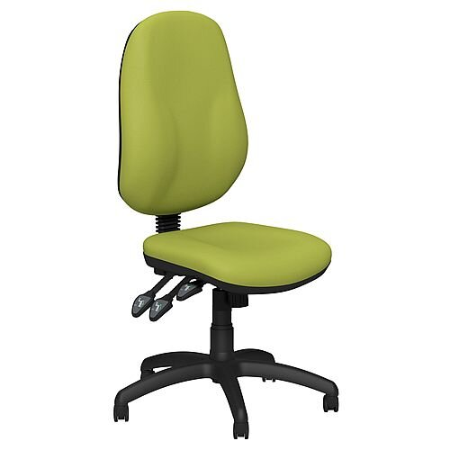 O.B Series Office Chair Leather Look Seat Black Base Green