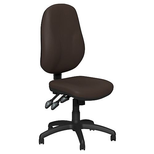 O.B Series Office Chair Leather Look Seat Black Base Brown
