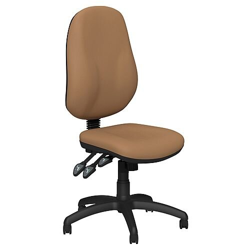 O.B Series Office Chair Leather Look Seat Black Base Beige