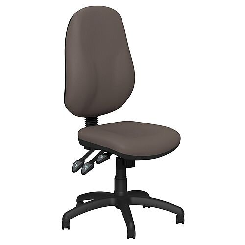 O.B Series Office Chair Leather Look Seat Black Base Coffee Beige