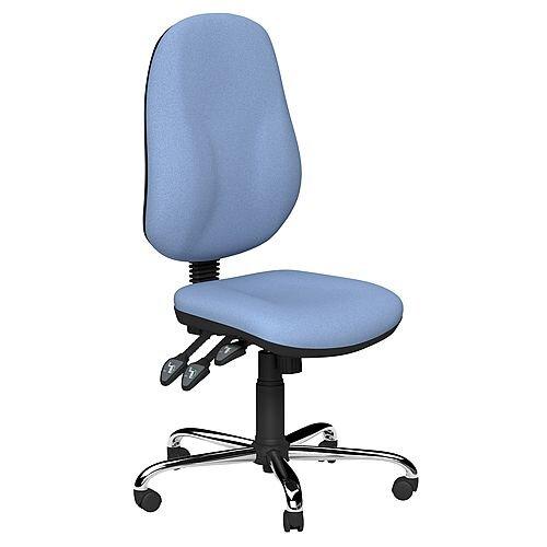 O.B Series Office Chair Fabric Seat Chrome Base Light Blue
