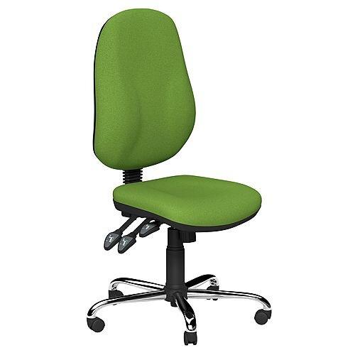 O.B Series Office Chair Fabric Seat Chrome Base Green