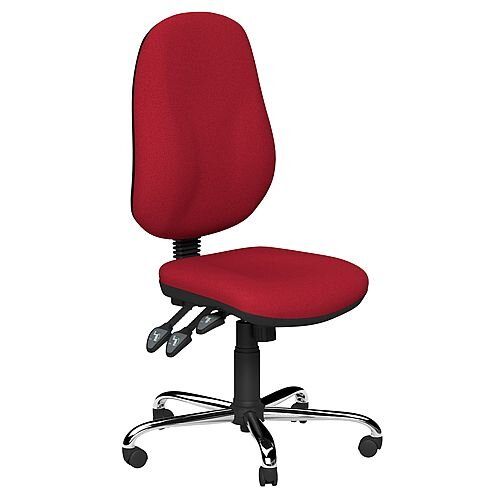 O.B Series Office Chair Fabric Seat Chrome Base Red