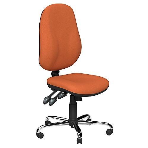 O.B Series Office Chair Fabric Seat Chrome Base Orange
