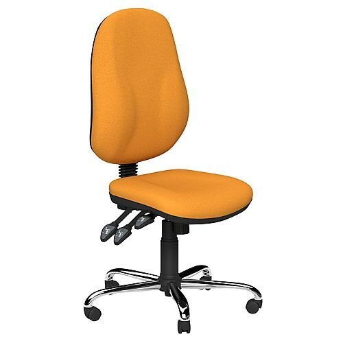 O.B Series Office Chair Fabric Seat Chrome Base Yellow