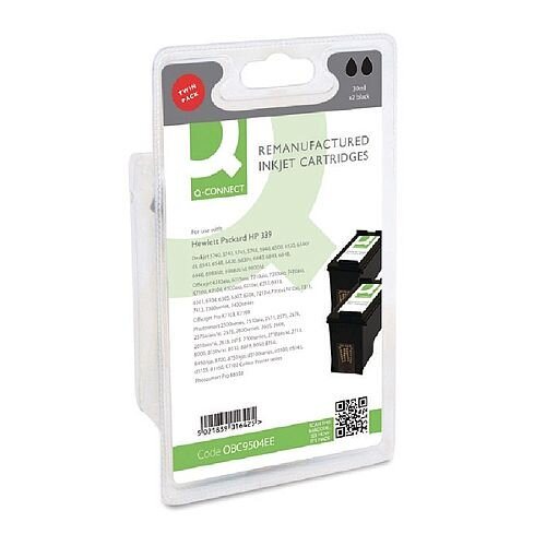 HP No 339 Compatible Black Inkjet Cartridge Twin Pack C9504EE Q-Connect
