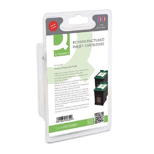 HP 344 Compatible Tri-Colour Inkjet Cartridge Twin Pack C9505EE Q-Connect