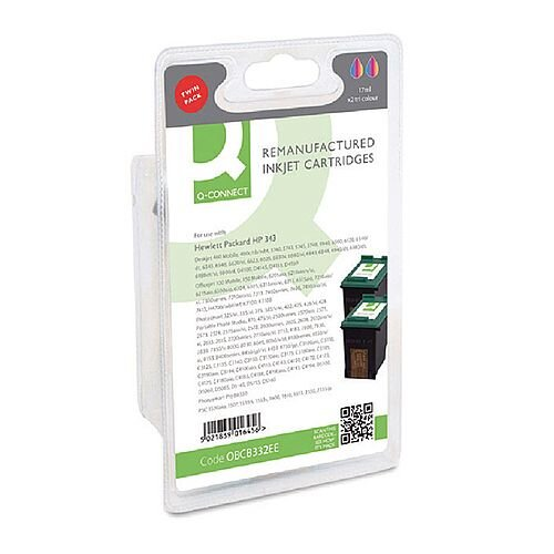 HP 343 Compatible Tri-Colour Ink Cartridge Twin Pack CB332EE Q-Connect