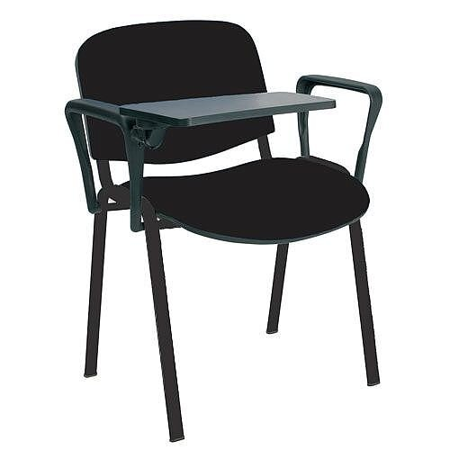 O.I Series Stacking Chair With Right Arm Writing Tablet Black Fabric Black Legs