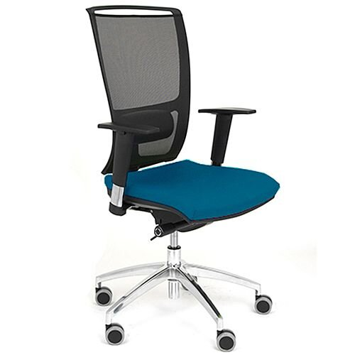 Ergonomic Mesh Task Operator Office Chair With Lumbar Support &Adjustable Arms Blue Eco-Leather Seat OZ Series