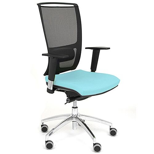 Ergonomic Mesh Task Operator Office Chair With Lumbar Support &Adjustable Arms Light Blue Eco-Leather Seat OZ Series