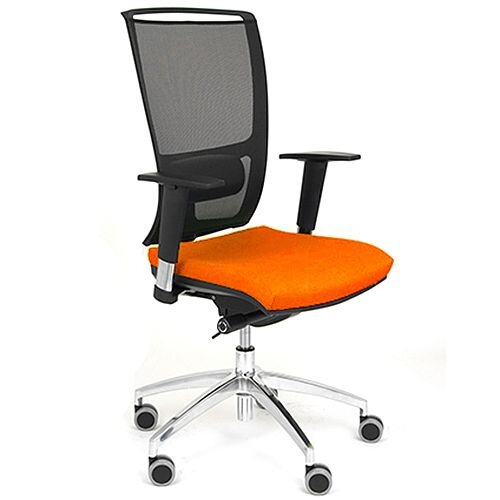 OZ Series Ergonomic Mesh Task Operator Office Chair With Lumbar Support &Adjustable Arms - Orange Eco-Leather Seat - Tested to EN1335 &5 year guarantee