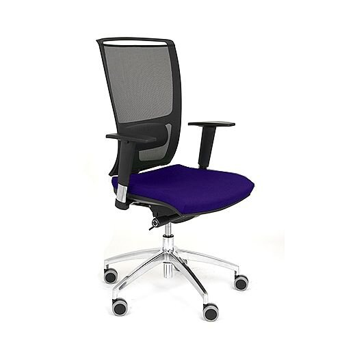 OZ Series Ergonomic Mesh Task Operator Office Chair With Lumbar Support &Adjustable Arms - Black Mesh Back &Purple Seat - tested to European Standard EN1335 and has a 5 year guarantee.
