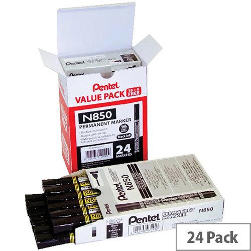Pentel N850 Permanent Marker Bullet Tip Black Pack of 24 N850/24-A