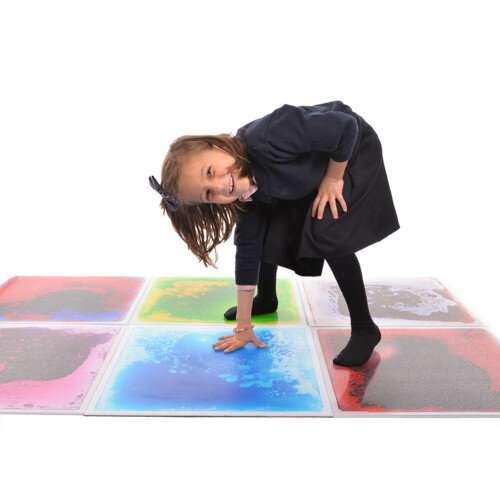 Set of 4 Liquid Floor Tiles - Vibrant Colours, Perfect for Sensory Space - Non Slip Surface