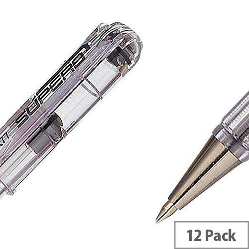 Pentel Black Superb Fine Ball Point Pen Pack of 12 BK77-A