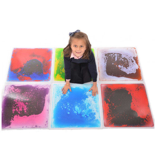 Set of 6 Liquid Floor Tiles - Vibrant Colours, Perfect for Sensory Space - Non Slip Surface