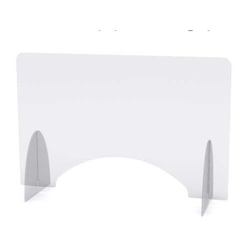 Screen One - Self Supporting Rectangular Protective Perspex Screen with Aperture &Radius Corners W1400xH675xD300mm