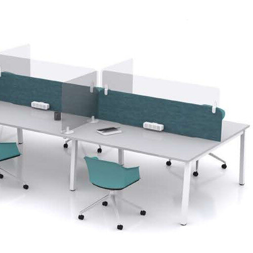 Screen Four - Plug On Rectangular Protective Perspex Desk Screen with Radius Corners W1000xH200xD25-30mm