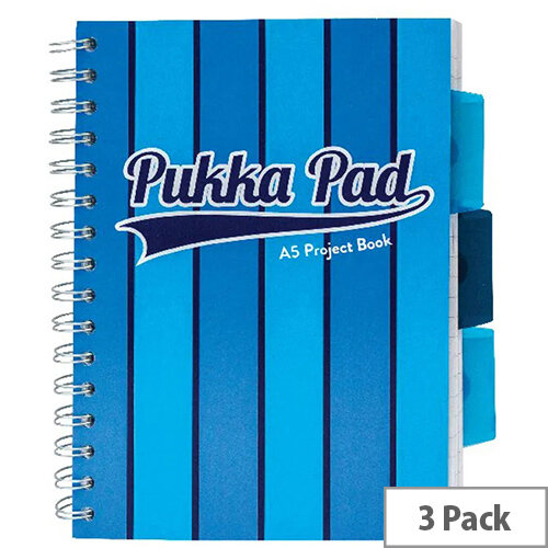 Pukka Pad Vogue Wirebound Project Book A5 Blue Pack of 3 8540-VOG
