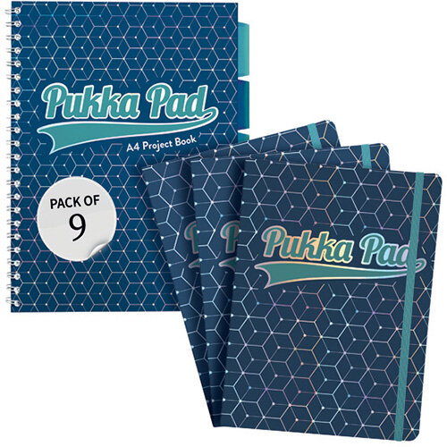 Pukka Glee Project Book A4 Dark Blue Pack of 3 FOC Glee Pad A5 Pk3