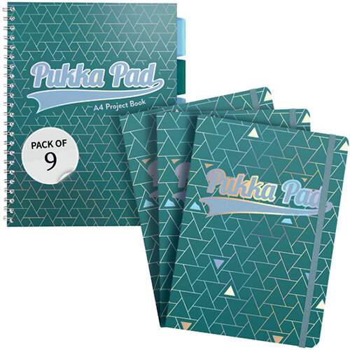 Pukka Glee Project Book A4 Green Pack of 3 FOC Glee Pad A5 Pk3