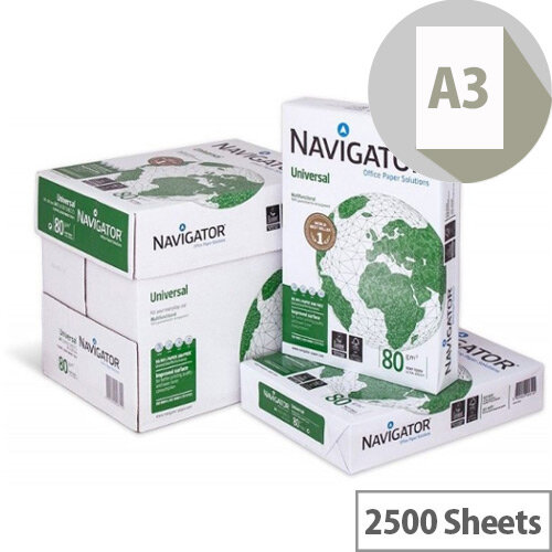 Navigator Universal A3 80gsm White Printer/Copier Paper Box of 2500 Sheets
