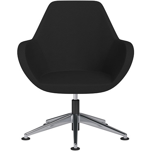 Fan Swivel Armchair with Economic Mechanism 5 Star Base Black Evo Fabric Seat &Polished Aluminium Base with Universal Teflon Glides - Perfect Seating Solution for Breakout, Reception Areas &Boardroom