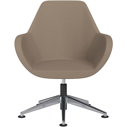 Fan Swivel Armchair with Economic Mechanism 5 Star Base Beige Evo Fabric Seat &Polished Aluminium Base with Universal Teflon Glides - Perfect Seating Solution for Breakout, Reception Areas &Boardroom