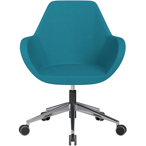 Fan Swivel Armchair with Economic Mechanism 5 Star Base Aquamarine Evo Fabric Seat &Polished Aluminium Base with Castors for Hard Floors - Perfect Seating Solution for Breakout, Reception Areas &Boardroom