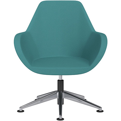 Fan Swivel Armchair with Economic Mechanism 5 Star Base Aqua Green Evo Fabric Seat &Polished Aluminium Base with Universal Teflon Glides - Perfect Seating Solution for Breakout, Reception Areas &Boardroom