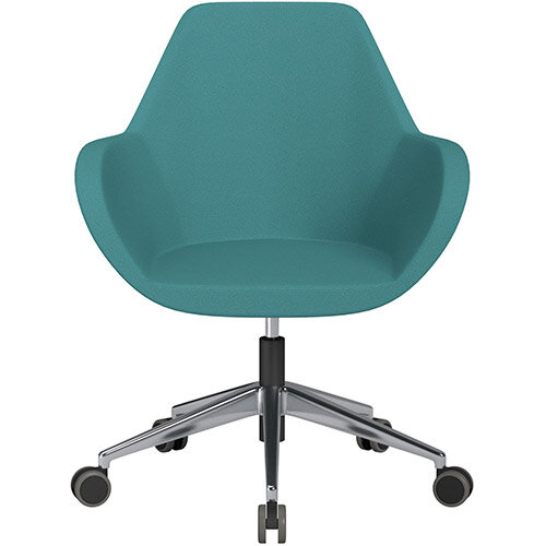 Fan Swivel Armchair with Economic Mechanism 5 Star Base Aqua Green Evo Fabric Seat &Polished Aluminium Base with Castors for Hard Floors - Perfect Seating Solution for Breakout, Reception Areas &Boardroom