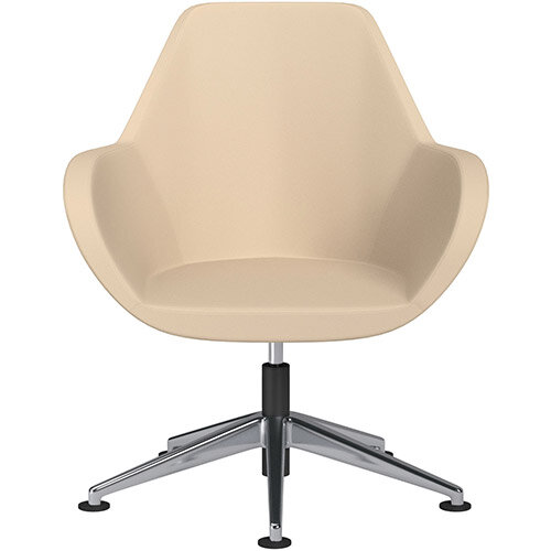 Fan Swivel Armchair with Economic Mechanism 5 Star Base Beige Softline Leather Look Seat &Polished Aluminium Base with Universal Teflon Glides - Perfect Seating Solution for Breakout, Reception Areas &Boardroom