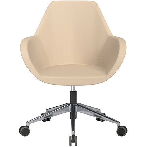 Fan Swivel Armchair with Economic Mechanism 5 Star Base Beige Softline Leather Look Seat &Polished Aluminium Base with Castors for Hard Floors - Perfect Seating Solution for Breakout, Reception Areas &Boardroom