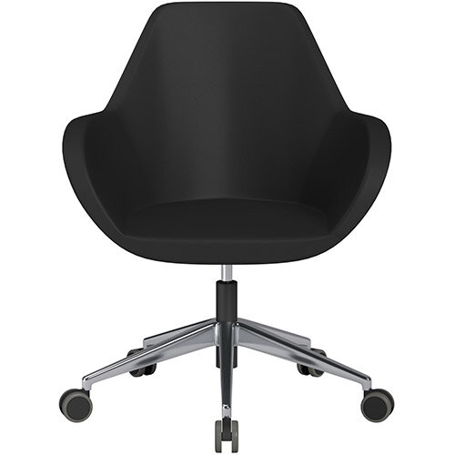 Fan Swivel Armchair with Economic Mechanism 5 Star Base Black Softline Leather Look Seat &Polished Aluminium Base with Castors for Hard Floors - Perfect Seating Solution for Breakout, Reception Areas &Boardroom
