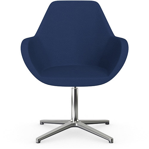 Fan Swivel Armchair with 4 Star Base Navy Evo Fabric Seat &Polished Aluminium Base - Perfect Seating Solution for Breakout, Reception Areas &Boardroom