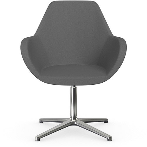 Fan Swivel Armchair with 4 Star Base Grey Evo Fabric Seat &Polished Aluminium Base - Perfect Seating Solution for Breakout, Reception Areas &Boardroom