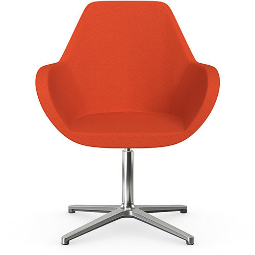 Fan Swivel Armchair with 4 Star Base Light Orange Evo Fabric Seat &Polished Aluminium Base - Perfect Seating Solution for Breakout, Reception Areas &Boardroom