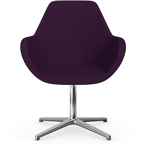 Fan Swivel Armchair with 4 Star Base Purple Evo Fabric Seat &Polished Aluminium Base - Perfect Seating Solution for Breakout, Reception Areas &Boardroom