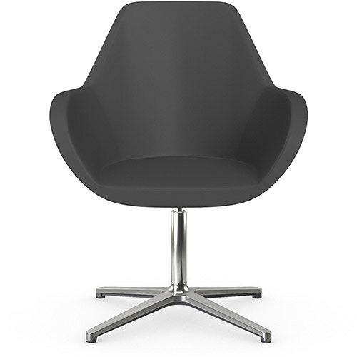Fan Swivel Armchair with 4 Star Base Dark Brown Softline Leather Look Seat &Polished Aluminium Base - Perfect Seating Solution for Breakout, Reception Areas &Boardroom
