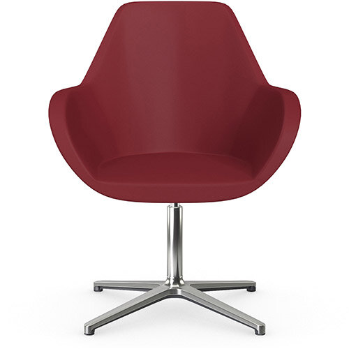 Fan Swivel Armchair with 4 Star Base Red Softline Leather Look Seat &Polished Aluminium Base - Perfect Seating Solution for Breakout, Reception Areas &Boardroom