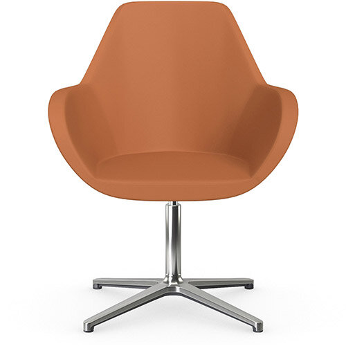 Fan Swivel Armchair with 4 Star Base Orange Softline Leather Look Seat &Polished Aluminium Base - Perfect Seating Solution for Breakout, Reception Areas &Boardroom