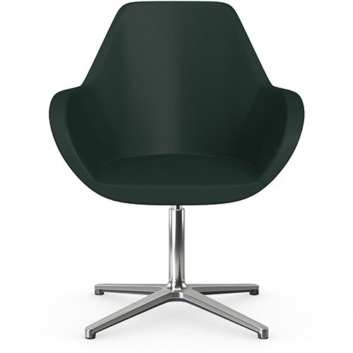Fan Swivel Armchair with 4 Star Base Dark Green Softline Leather Look Seat &Polished Aluminium Base - Perfect Seating Solution for Breakout, Reception Areas &Boardroom
