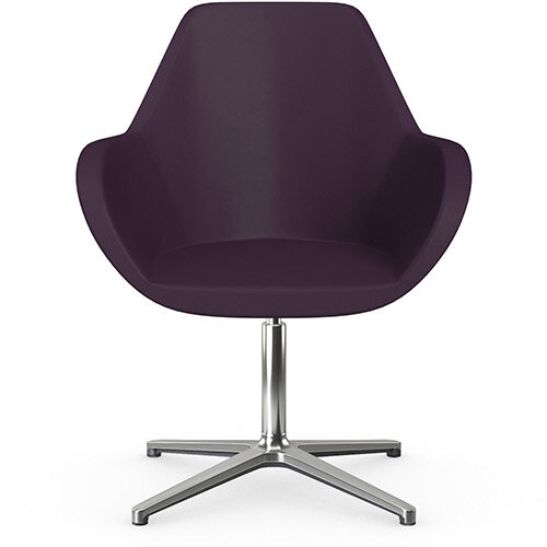 Fan Swivel Armchair with 4 Star Base Light Purple Softline Leather Look Seat &Polished Aluminium Base - Perfect Seating Solution for Breakout, Reception Areas &Boardroom