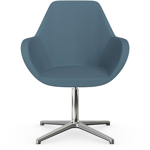 Fan Swivel Armchair with 4 Star Base Light Aqua Sprint Fabric Seat &Polished Aluminium Base - Perfect Seating Solution for Breakout, Reception Areas &Boardroom