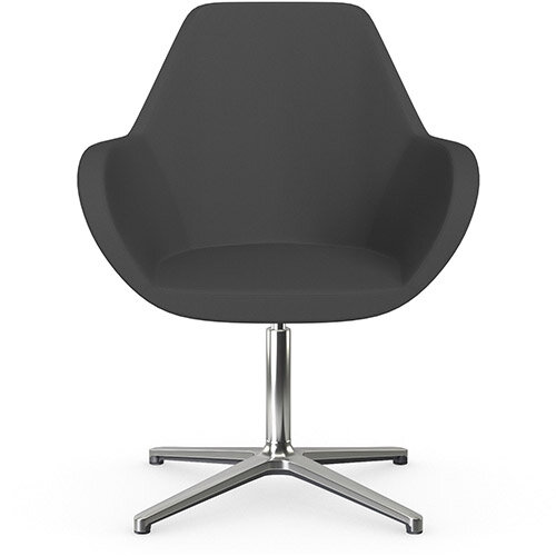 Fan Swivel Armchair with 4 Star Base Dark Grey Sprint Fabric Seat &Polished Aluminium Base - Perfect Seating Solution for Breakout, Reception Areas &Boardroom