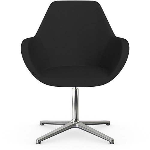 Fan Swivel Armchair with 4 Star Base Black Sprint Fabric Seat &Polished Aluminium Base - Perfect Seating Solution for Breakout, Reception Areas &Boardroom